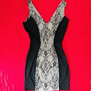 Black cream lace sexy dress night out